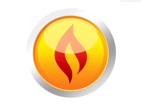 Botão de fogo amarelo (PSD), gráfico vetorial.