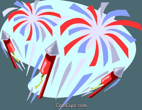 Fireworks display Royalty Free Vector Clip Art illustration.