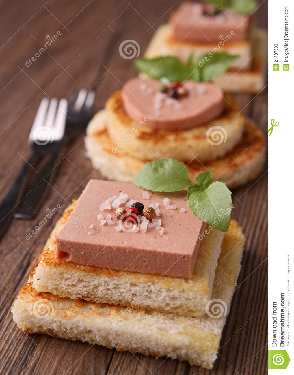 Finger Food With Foie Gras Stock Photos.