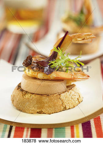 Pictures of Foie gras,raisin and shrimp crostini 183878.