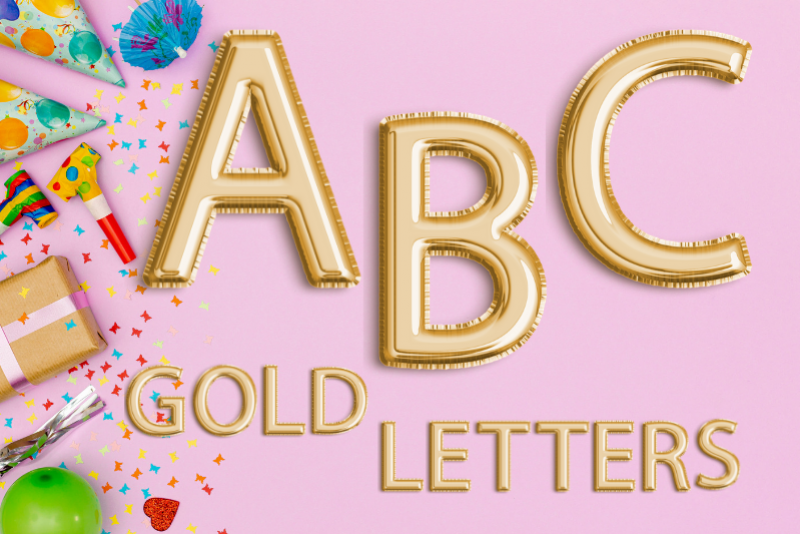 Gold Foil Balloon Letters Clipart, Digital Gold Balloons.