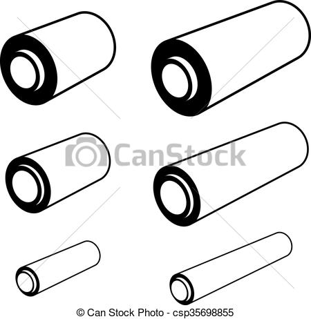 Clipart Vector of roll of any foil black symbols.