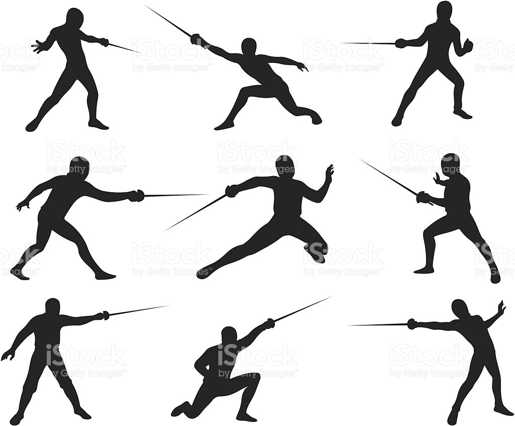 Fencing Silhouettes stock vector art 165638638.