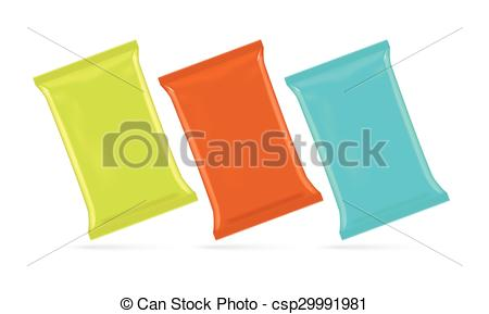 Vector of Vector illustration of foil bag for potato chips, coffee.