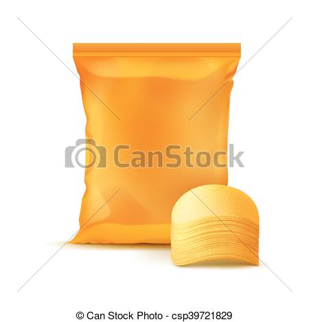 Vector Illustration of Sealed Foil Plastic Bag with Stack of.