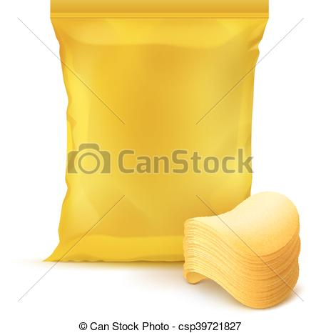 Vector Illustration of Foil Bag Package Design with Stack of.