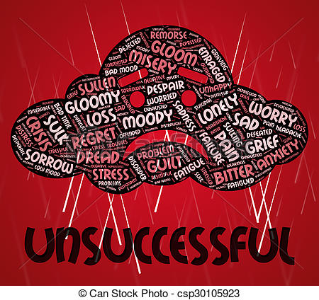 Clip Art of Unsuccessful Word Represents Foiled Text And Vain.