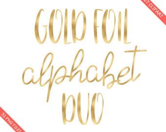 BUY 3 FOR 8 USD Gold foil ampersand clipart golden foil.