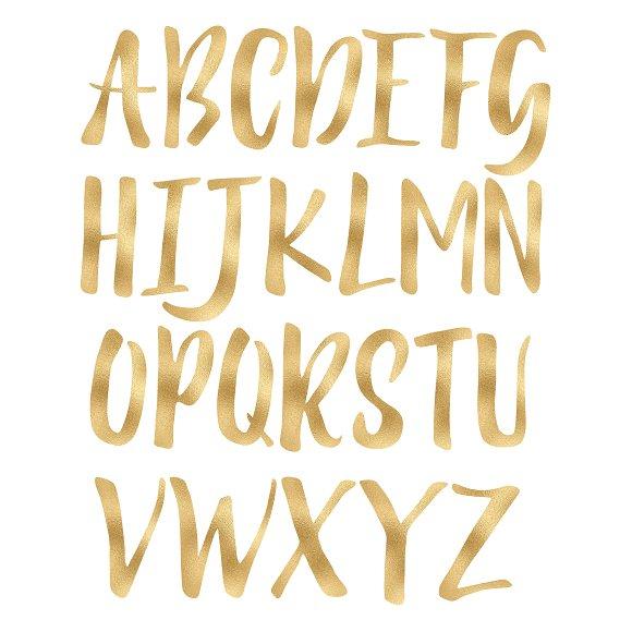 Gold foil alphabet clip art ~ Objects on Creative Market.