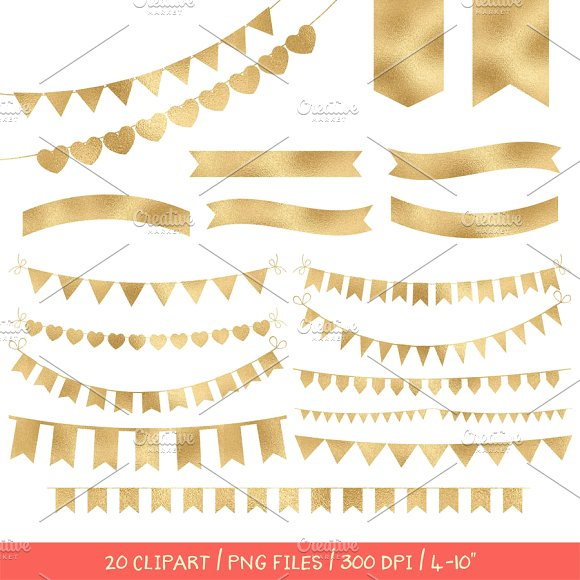 Gold foil bunting banners clipart ~ Objects on Creative Market.