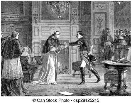 Clipart of Napoleon visiting Pius VII at Fontainebleau, vintage.