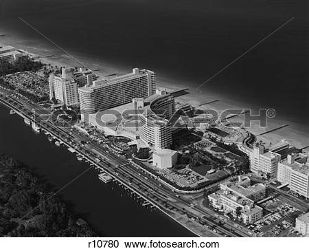 Stock Photography of 1950S 1960S Aerial View Fontainebleau Hotel.