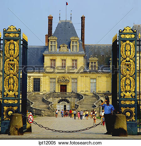 Stock Image of COUR DES PRINCES COURTYARD WITH LITTLE BOY CHATEAU.