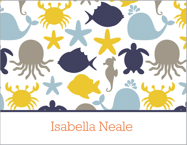 Personalized Blue Circle Foldover Card.