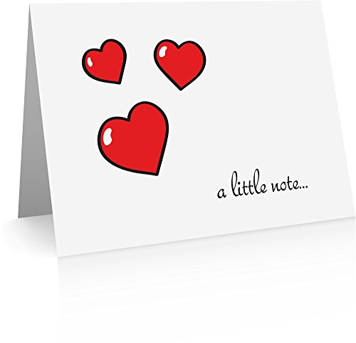 Hearts and Love Note Cards (12 Cards and Blank Red Envelopes.
