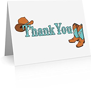 Amazon.com : Cowboy Western Thank You Cards (24 Foldover Cards and.
