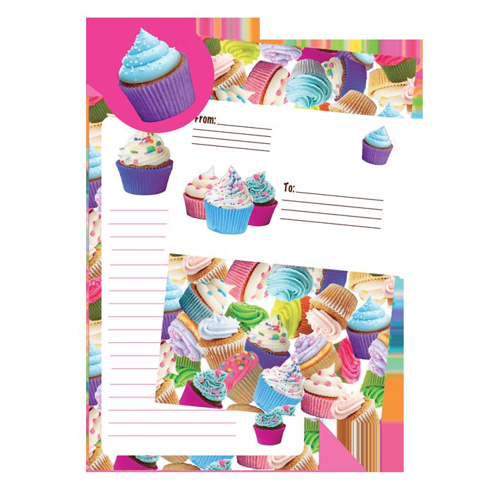 Cupcakes Foldover Stationery.