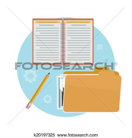 Clipart of Folder, notebook and pencil k20197325.