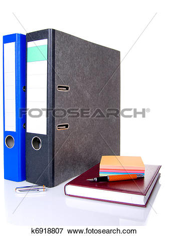 Picture of file folder, notebook, notes block and pen isolated.
