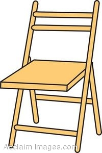 Clip Art Picture of a Wooden Folding Chair.