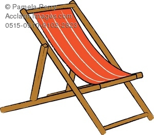 Clip Art Illustration of a Wooden Beach Chair.