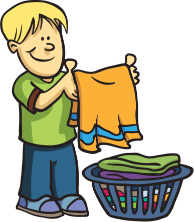 Folding Laundry Clipart.