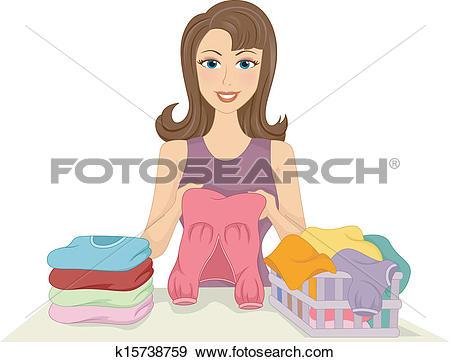 Clip Art of Girl Folding Clothes k15738759.