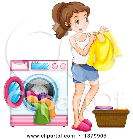 Clipart of a Brunette Caucasian Girl Folding Laundry.