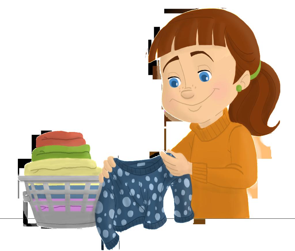 Folding Laundry. Kids Folded Laundry Clipart Kid Boy Folding.