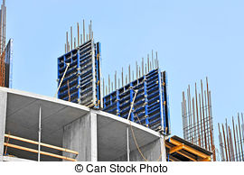 Stock Photographs of Concrete formwork with a folding mechanism on.