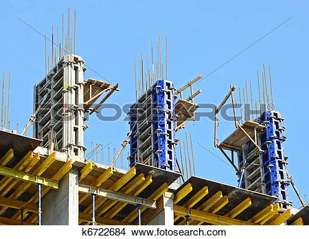 Stock Photo of Concrete formwork with a folding mechanism and.