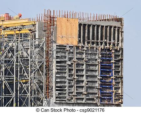 Stock Image of Concrete formwork with a folding mechanism on.