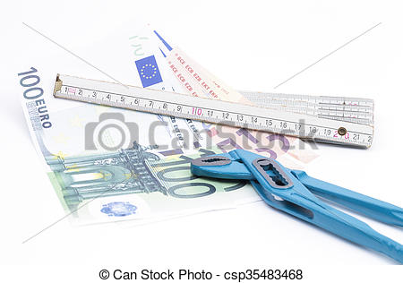 Stock Image of Folding rule with money and pliers.