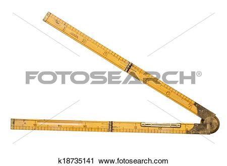 Stock Photography of carpenter's folding rule of 19th century with.