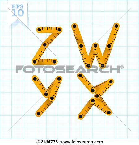 Clipart of Measuring folding ruler flat vector abc k22184775.