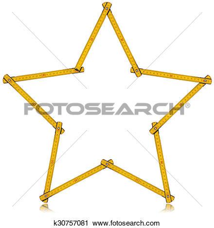 Clipart of Wooden Folding Ruler Star Shaped k30757081.