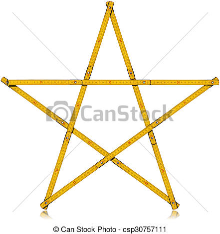 Clipart of Wooden Folding Ruler Star Shaped.