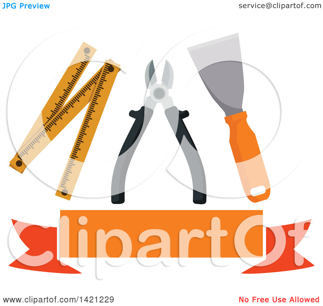 Clipart of a Spatula, Pliers and Folding Ruler over a Blank Orange.