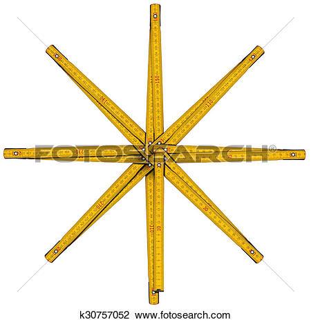 Clip Art of Wooden Folding Ruler Star Shaped k30757052.