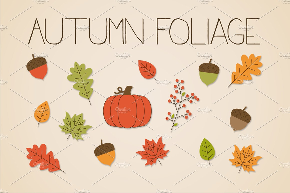 Autumn Foliage Clip Art ~ Illustrations on Creative Market.
