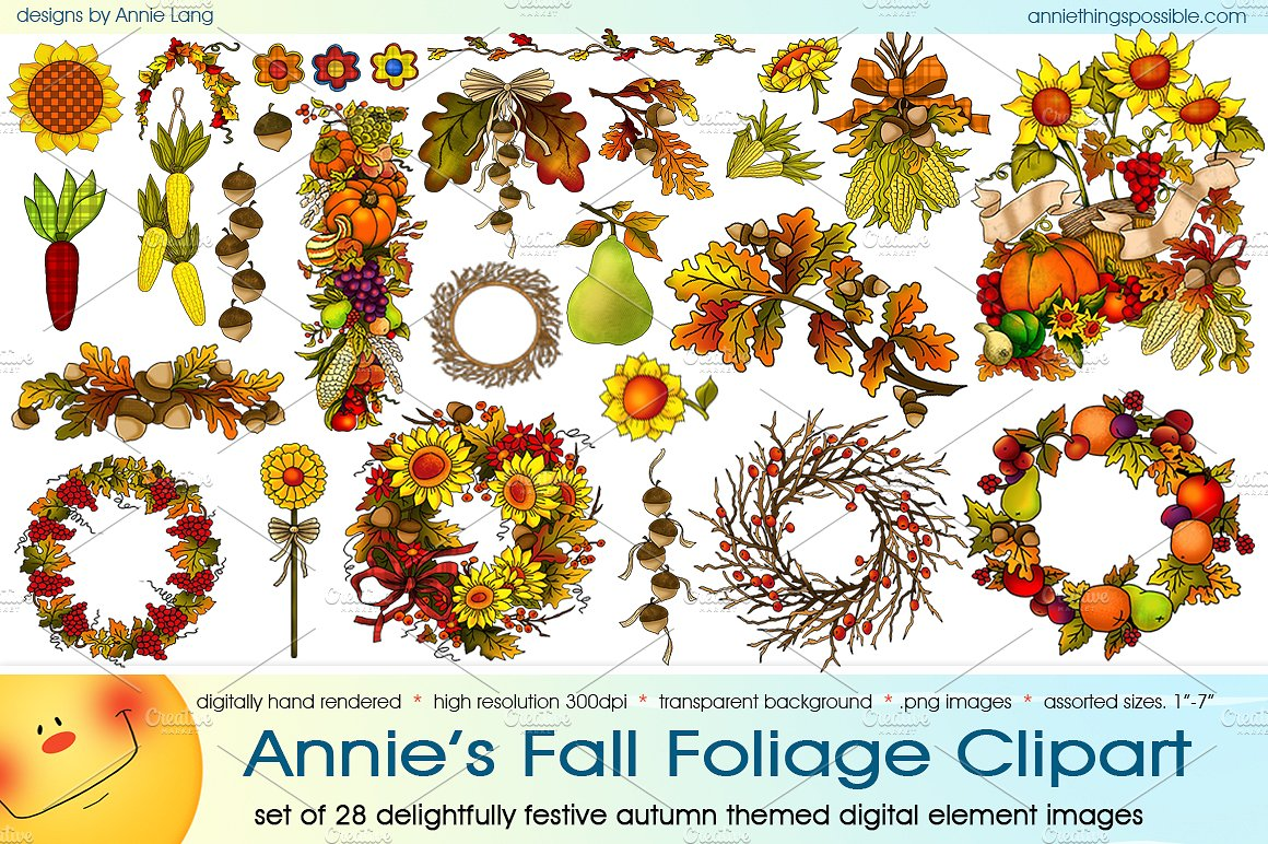 Annie's Fall Foliage Clipart ~ Illustrations on Creative Market.