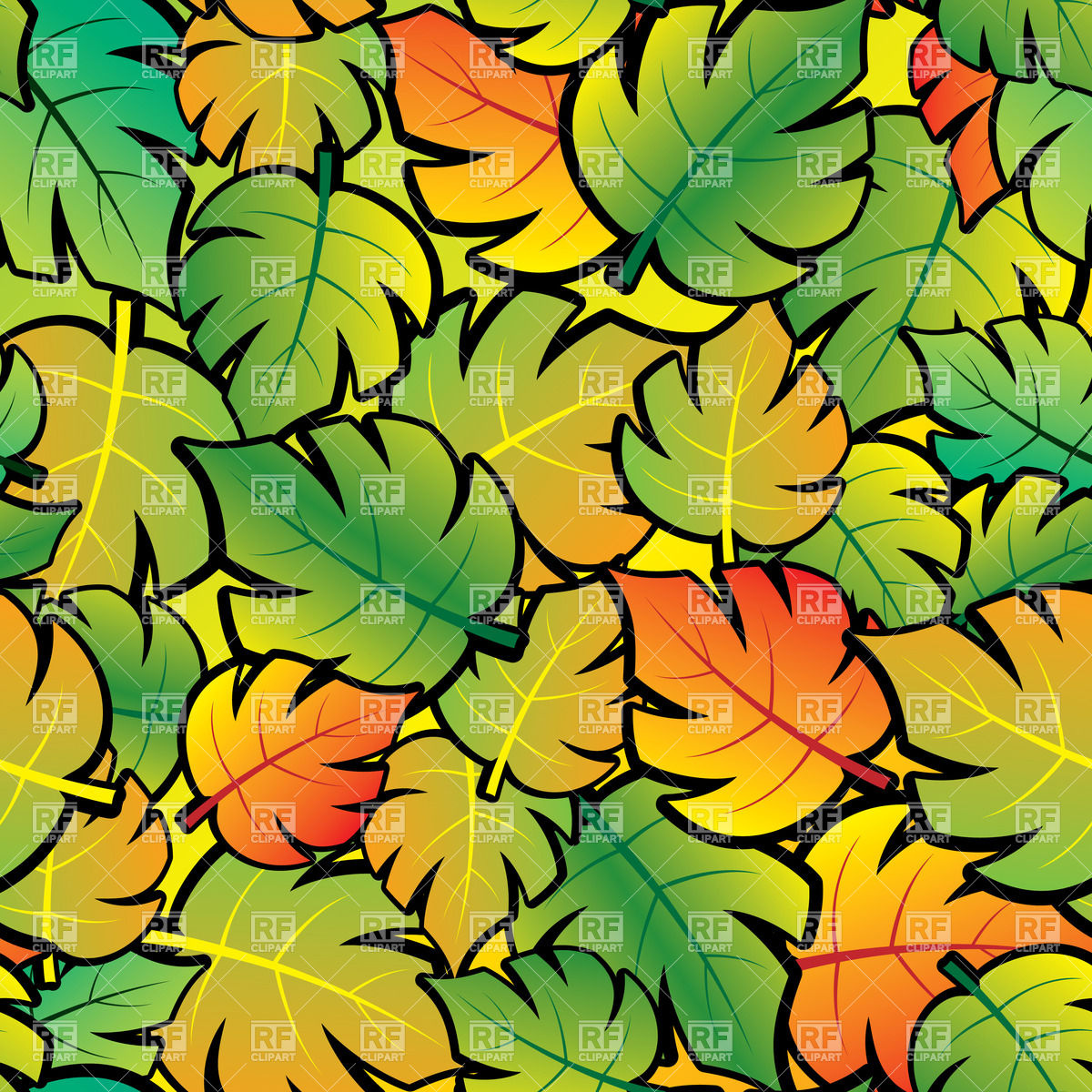 Seamless background with cartoon foliage.