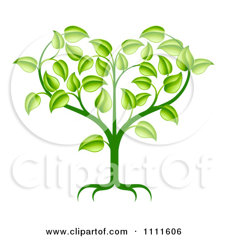 Clipart Green Seedling Plant With Foliage Forming A Heart.