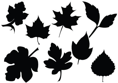 Fall Foliage Silhouette Vectors Maple Oak Leavessilhouette Clip.