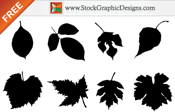 Free Leaf Silhouettes Vector Set.