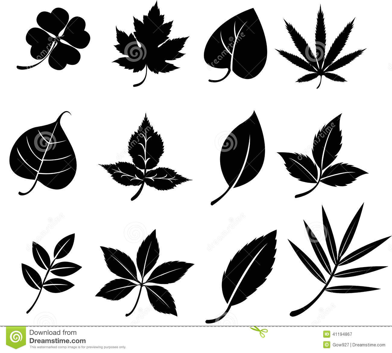 Set Of Silhouette Leaves (vector) Stock Vector.