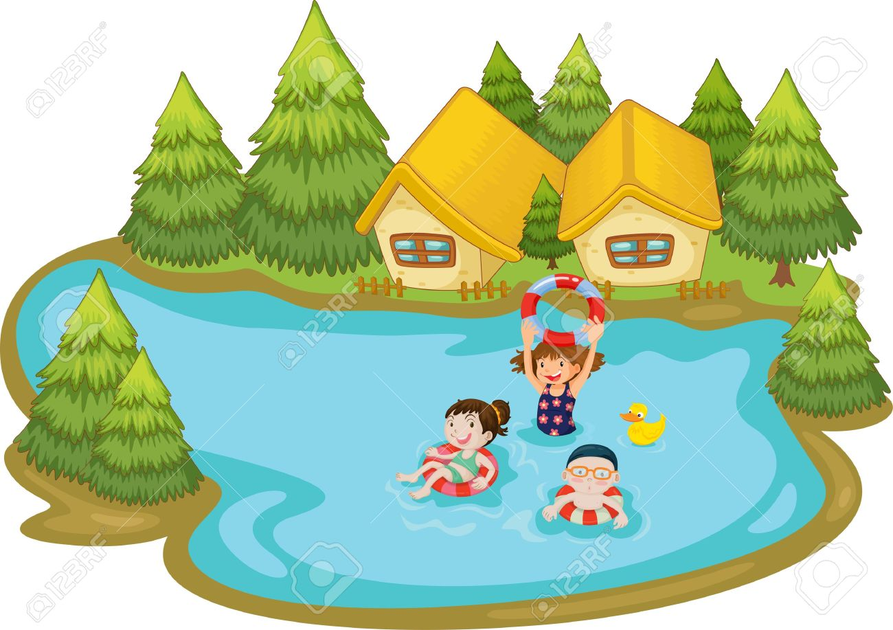 Kids swimming in a lake cartoon