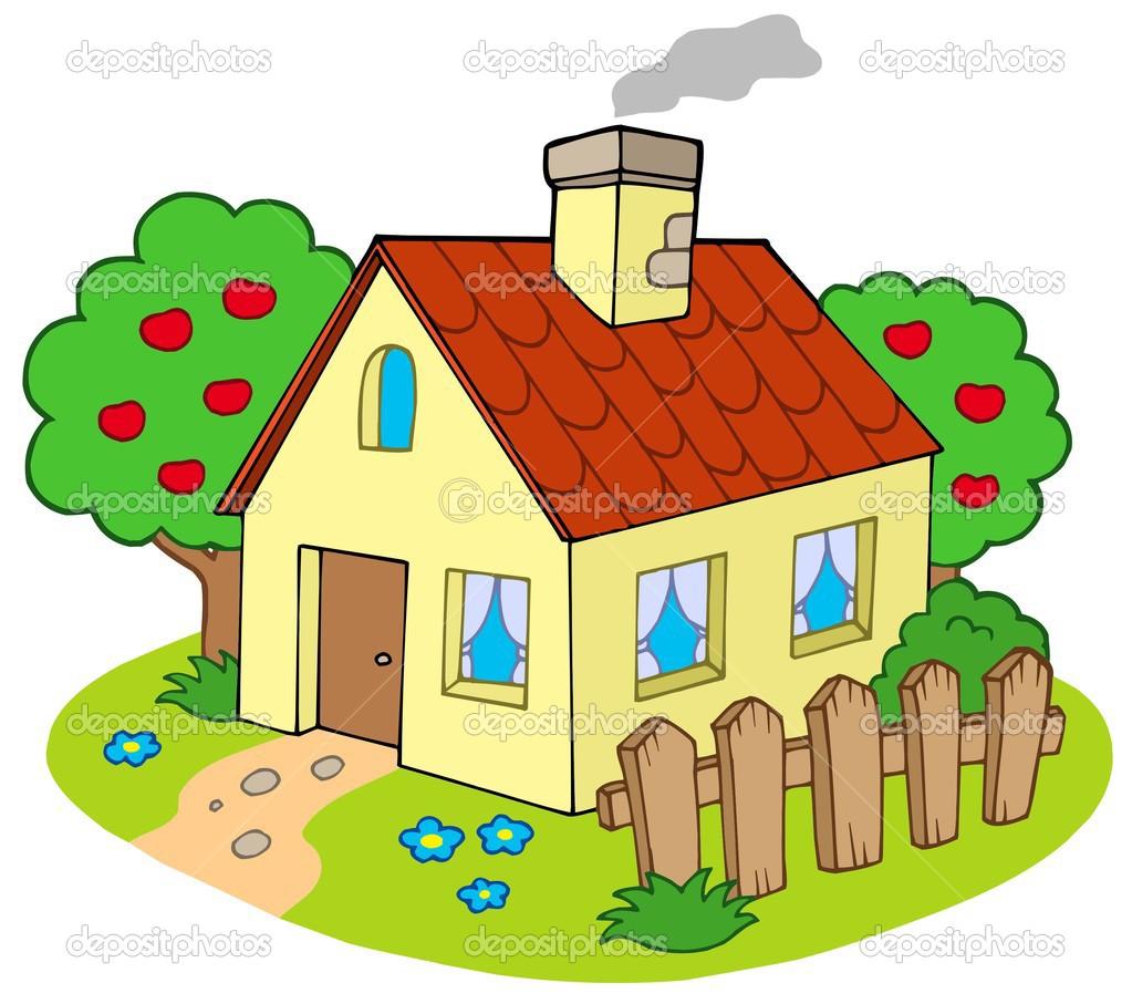Haus mit garten — Stockvektor © clairev #2202060.