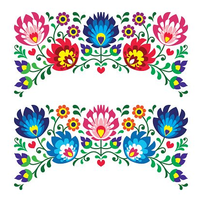 Polish Floral Folk Art Embroidery Patterns for Card premium clipart.
