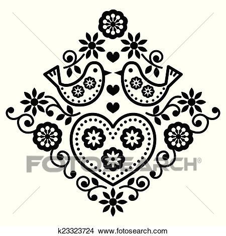 Folk art floral black pattern Clipart.